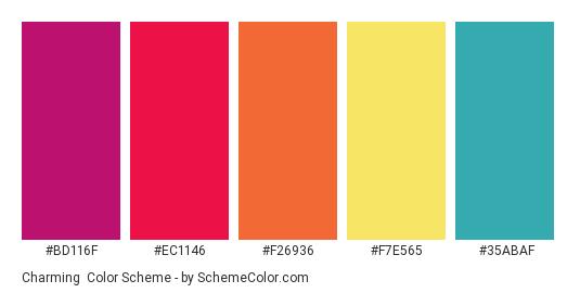 Charming - Color scheme palette thumbnail - #BD116F #EC1146 #F26936 #F7E565 #35ABAF