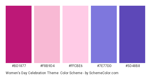 Women's Day Celebration Theme - Color scheme palette thumbnail - #BD1877 #F8B9D4 #FFCBE6 #7E77DD #5D48B8