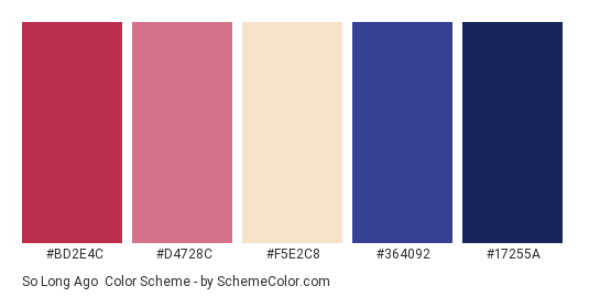 So Long Ago - Color scheme palette thumbnail - #BD2E4C #D4728C #F5E2C8 #364092 #17255A