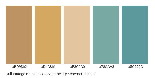 Dull Vintage Beach - Color scheme palette thumbnail - #BD9362 #D4A861 #E3C6A0 #78AAA3 #5C999C