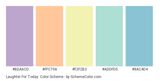 Laughter for Today - Color scheme palette thumbnail - #BDA6CD #FFC79A #F2F2B3 #ADDFD5 #8AC4D4