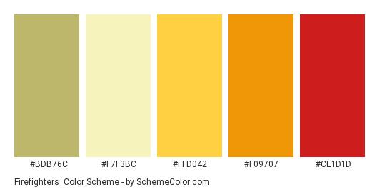 Firefighters - Color scheme palette thumbnail - #BDB76C #F7F3BC #FFD042 #F09707 #CE1D1D
