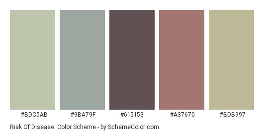 Risk of Disease - Color scheme palette thumbnail - #BDC5AB #9BA79F #615153 #A37670 #BDB997