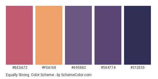 Equally Strong - Color scheme palette thumbnail - #BE5A72 #F0A168 #695882 #584774 #312E55