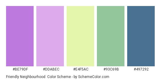 Friendly Neighbourhood - Color scheme palette thumbnail - #BE79DF #DDABEC #E4F5AC #93C69B #497292