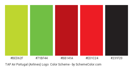 TAP Air Portugal (Airlines) Logo - Color scheme palette thumbnail - #BED62F #71BF44 #BB141A #ED1C24 #231F20