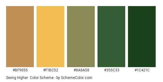 Swing Higher - Color scheme palette thumbnail - #BF9055 #F1BC52 #8A8A58 #355C33 #1C421C