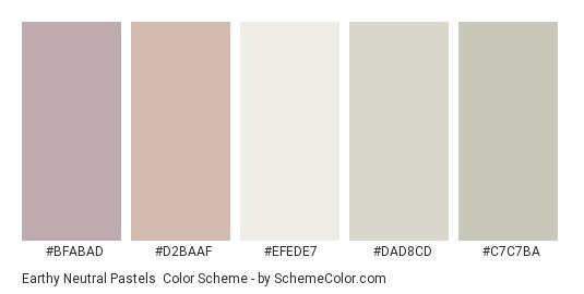 Earthy Neutral Pastels - Color scheme palette thumbnail - #BFABAD #D2BAAF #EFEDE7 #DAD8CD #C7C7BA