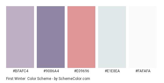 First Winter - Color scheme palette thumbnail - #BFAFC4 #9086A4 #E09696 #E1E8EA #FAFAFA