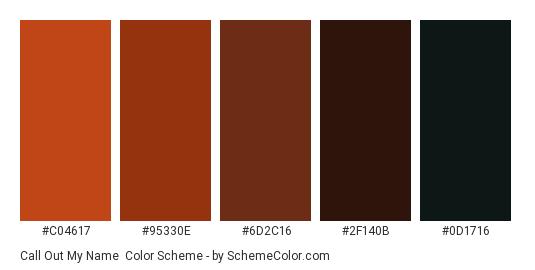 Call out my Name - Color scheme palette thumbnail - #C04617 #95330E #6D2C16 #2F140B #0D1716