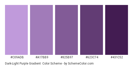 Dark-Light Purple Gradient - Color scheme palette thumbnail - #C09ADB #A17BB9 #825B97 #623C74 #431C52