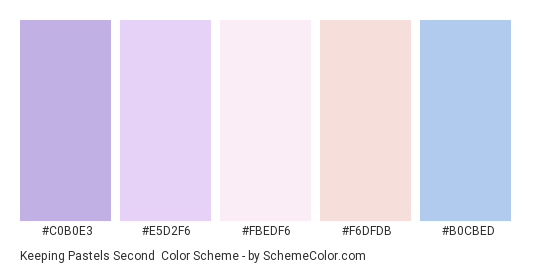 Keeping Pastels Second - Color scheme palette thumbnail - #C0B0E3 #E5D2F6 #FBEDF6 #F6DFDB #B0CBED