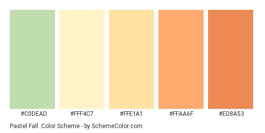 Pastel Fall - Color scheme palette thumbnail - #C0DEAD #FFF4C7 #FFE1A1 #FFAA6F #ED8A53