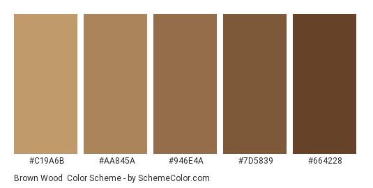 Brown Wood - Color scheme palette thumbnail - #C19A6B #AA845A #946E4A #7D5839 #664228