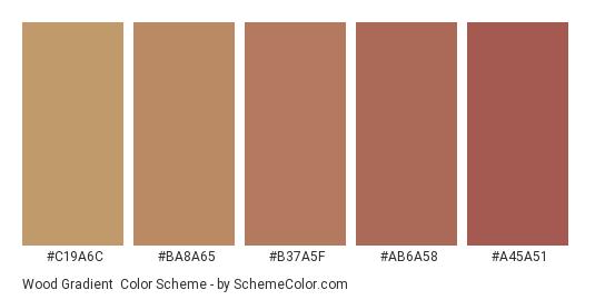 Wood Gradient - Color scheme palette thumbnail - #C19A6C #BA8A65 #B37A5F #AB6A58 #A45A51