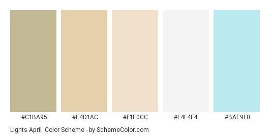 Lights April - Color scheme palette thumbnail - #C1BA95 #E4D1AC #F1E0CC #F4F4F4 #BAE9F0