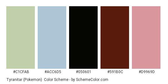 Tyranitar (Pokemon) - Color scheme palette thumbnail - #C1CFAB #ACC6D5 #050601 #591B0C #D9969D