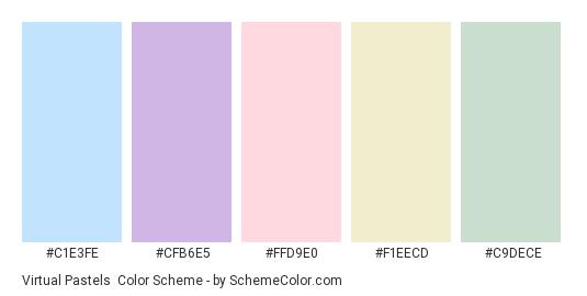 Virtual Pastels - Color scheme palette thumbnail - #C1E3FE #CFB6E5 #FFD9E0 #F1EECD #C9DECE