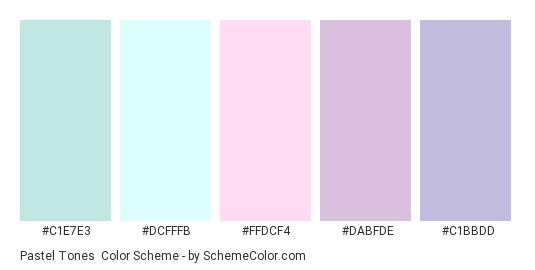 Pastel Tones - Color scheme palette thumbnail - #C1E7E3 #DCFFFB #FFDCF4 #DABFDE #C1BBDD