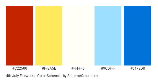 4th July Fireworks - Color scheme palette thumbnail - #C22500 #FFEA5E #FFFFF6 #9CDFFF #0172D8