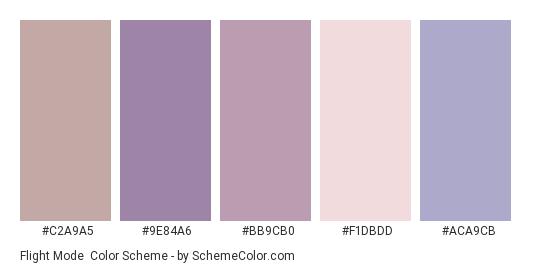 Flight Mode - Color scheme palette thumbnail - #C2A9A5 #9E84A6 #BB9CB0 #F1DBDD #ACA9CB