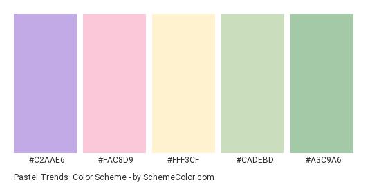 Pastel Trends - Color scheme palette thumbnail - #C2AAE6 #FAC8D9 #FFF3CF #CADEBD #A3C9A6
