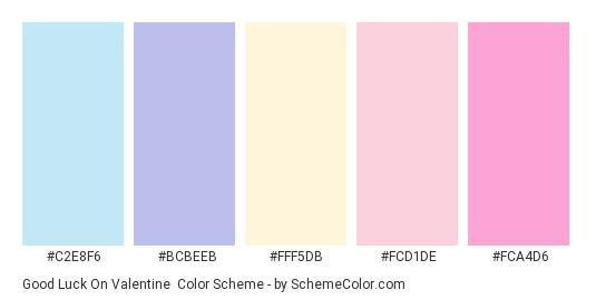 Good Luck on Valentine - Color scheme palette thumbnail - #C2E8F6 #BCBEEB #FFF5DB #FCD1DE #FCA4D6