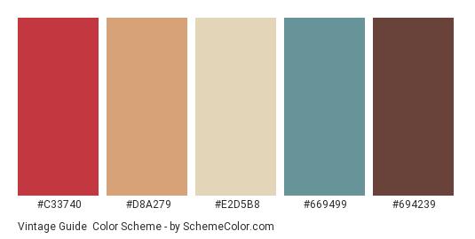 Vintage Guide - Color scheme palette thumbnail - #C33740 #d8a279 #E2D5B8 #669499 #694239