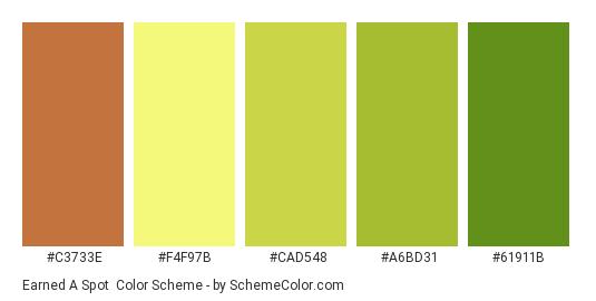Earned a Spot - Color scheme palette thumbnail - #C3733E #F4F97B #CAD548 #A6BD31 #61911B