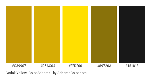 Bodak Yellow - Color scheme palette thumbnail - #C39907 #D5AC04 #FFDF00 #89720A #181818
