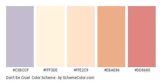Don't Be Cruel - Color scheme palette thumbnail - #C3BCCF #FFF3DE #FFE2C9 #EBAE86 #DD8680