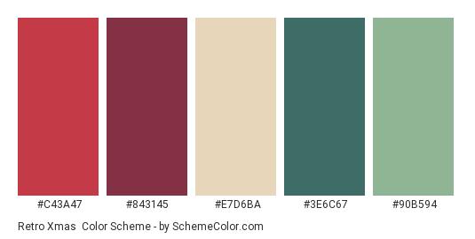 Retro Xmas - Color scheme palette thumbnail - #C43A47 #843145 #E7D6BA #3E6C67 #90B594