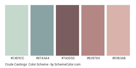 Crude Castings - Color scheme palette thumbnail - #C4D9CC #87A3A4 #7A5D5D #B38784 #D9B3AB