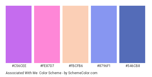 Associated with Me - Color scheme palette thumbnail - #C56CEE #FE87D7 #FBCFB6 #8796F1 #546CB8