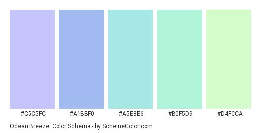 Ocean Breeze - Color scheme palette thumbnail - #C5C5FC #A1BBF0 #A5E8E6 #B0F5D9 #D4FCCA