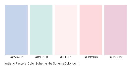 Artistic Pastels - Color scheme palette thumbnail - #C5D4EB #D3EBE8 #FEF0F0 #FDD9DB #EDCCDC