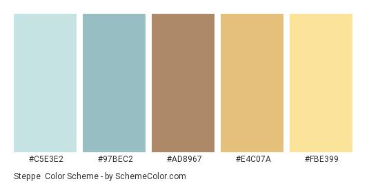 Steppe - Color scheme palette thumbnail - #C5E3E2 #97BEC2 #AD8967 #E4C07A #FBE399