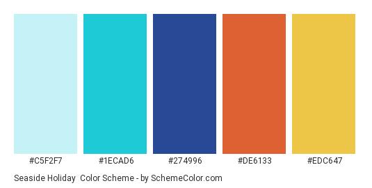 Seaside Holiday - Color scheme palette thumbnail - #C5F2F7 #1ECAD6 #274996 #DE6133 #EDC647