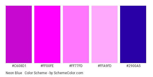 Neon Blue & Pink Pie Chart - Color scheme palette thumbnail - #C608D1 #FF00FE #FF77FD #FFA9FD #2900A5