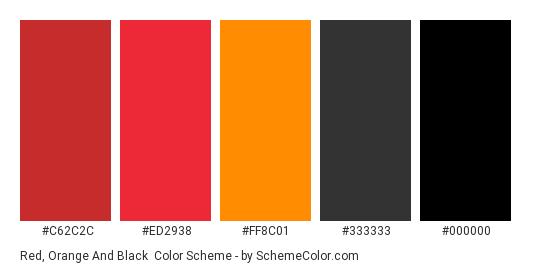 Red, Orange and Black - Color scheme palette thumbnail - #C62C2C #ED2938 #FF8C01 #333333 #000000