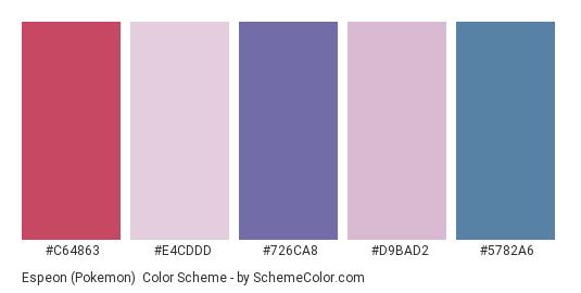 Espeon (Pokemon) - Color scheme palette thumbnail - #C64863 #E4CDDD #726CA8 #D9BAD2 #5782A6