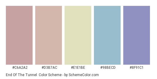 End of the Tunnel - Color scheme palette thumbnail - #C6A2A2 #D3B7AC #e1e1be #98becd #8f91c1
