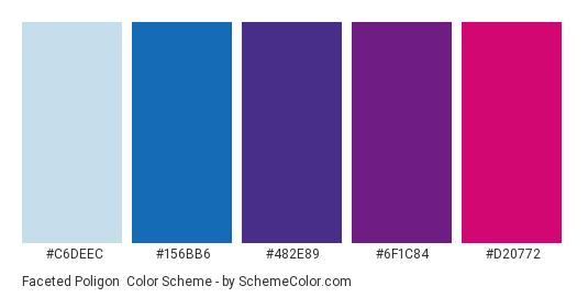 Faceted Poligon - Color scheme palette thumbnail - #C6DEEC #156BB6 #482E89 #6F1C84 #D20772