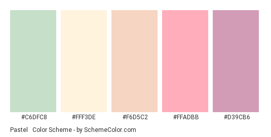 Pastel & Pale - Color scheme palette thumbnail - #C6DFC8 #FFF3DE #F6D5C2 #FFADBB #D39CB6