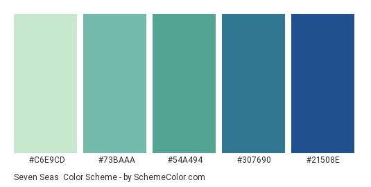 Seven Seas - Color scheme palette thumbnail - #C6E9CD #73BAAA #54A494 #307690 #21508E