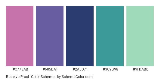 Receive Proof - Color scheme palette thumbnail - #C773AB #685DA1 #2A3D71 #3C9B98 #9FDABB