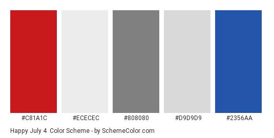 Happy July 4 - Color scheme palette thumbnail - #C81A1C #ECECEC #808080 #D9D9D9 #2356AA