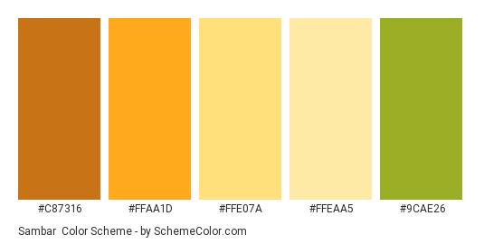 Sambar - Color scheme palette thumbnail - #C87316 #FFAA1D #FFE07A #FFEAA5 #9CAE26