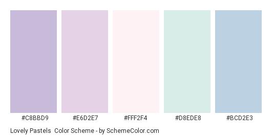 Lovely Pastels - Color scheme palette thumbnail - #C8BBD9 #E6D2E7 #FFF2F4 #D8EDE8 #BCD2E3