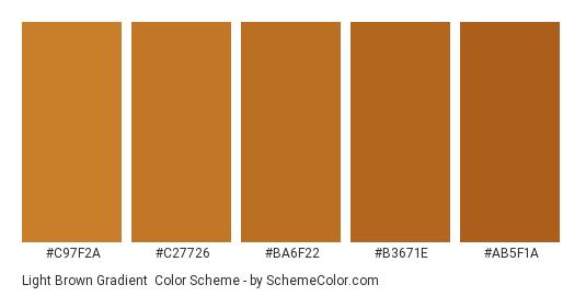 Light Brown Gradient - Color scheme palette thumbnail - #C97F2A #C27726 #BA6F22 #B3671E #AB5F1A